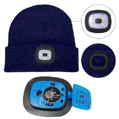 Navy Beanie Hat With LED Light