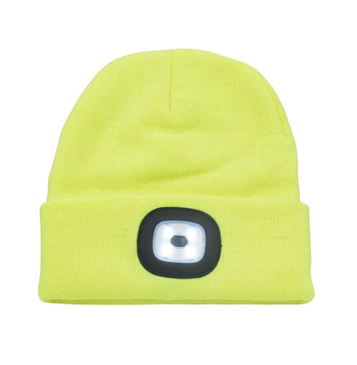 Yellow Beanie Hat With LED Light