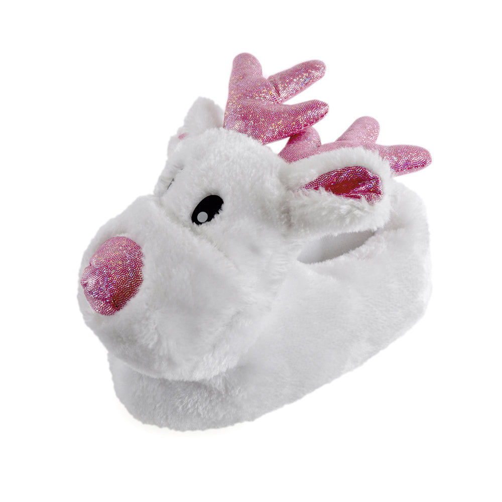 OCTAVE Girls White Reindeer Pink Sparkle 3D Novelty Christmas Festive Slippers