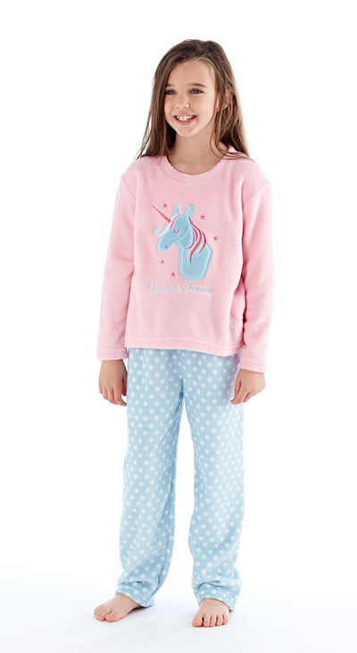 OCTAVE Girls Fun Unicorn Print Super Soft Coral Fleece Loungewear Pyjama Set