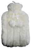 OCTAVE Hot Water Bottle With Luxuriously Soft Faux Fur Cover & Pom Pom Tie Set