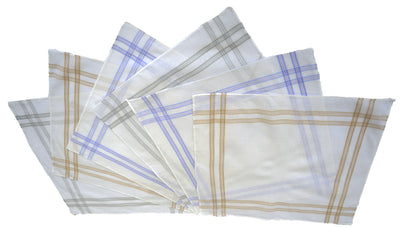 OCTAVE Mens White Handkerchiefs With Stripes -  10 Pack