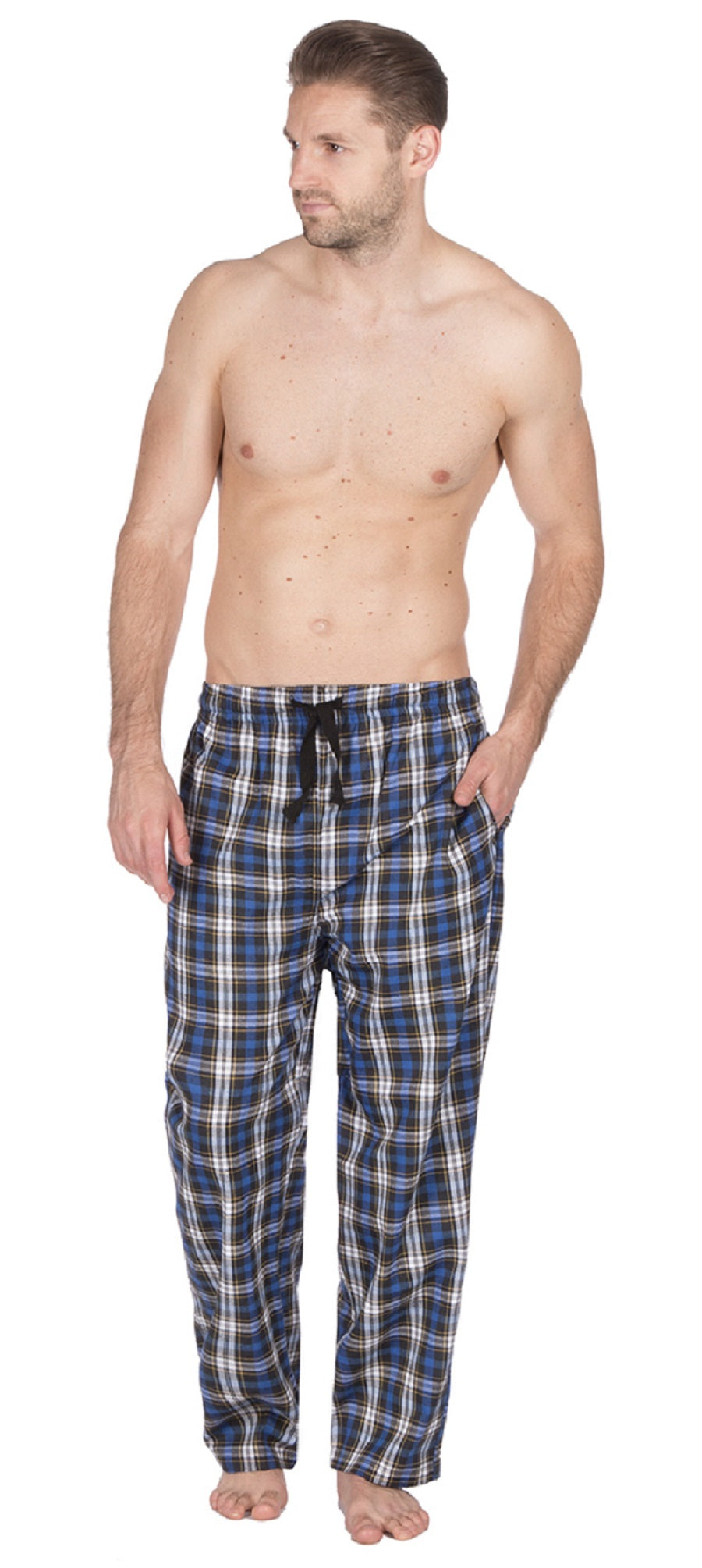 OCTAVE Mens Woven Poly Cotton Checked Tartan Loungewear Pants Pyjama Bottoms