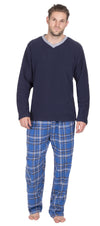 OCTAVE Mens Long Sleeve Microfleece Top Checked Cotton Flannel Pants Pyjama Set