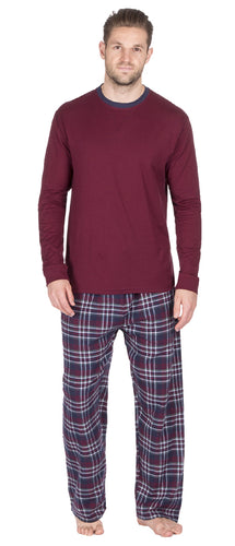 OCTAVE Mens Long Sleeve Jersey Cotton Top & Checked Flannel Pants Pyjama Set
