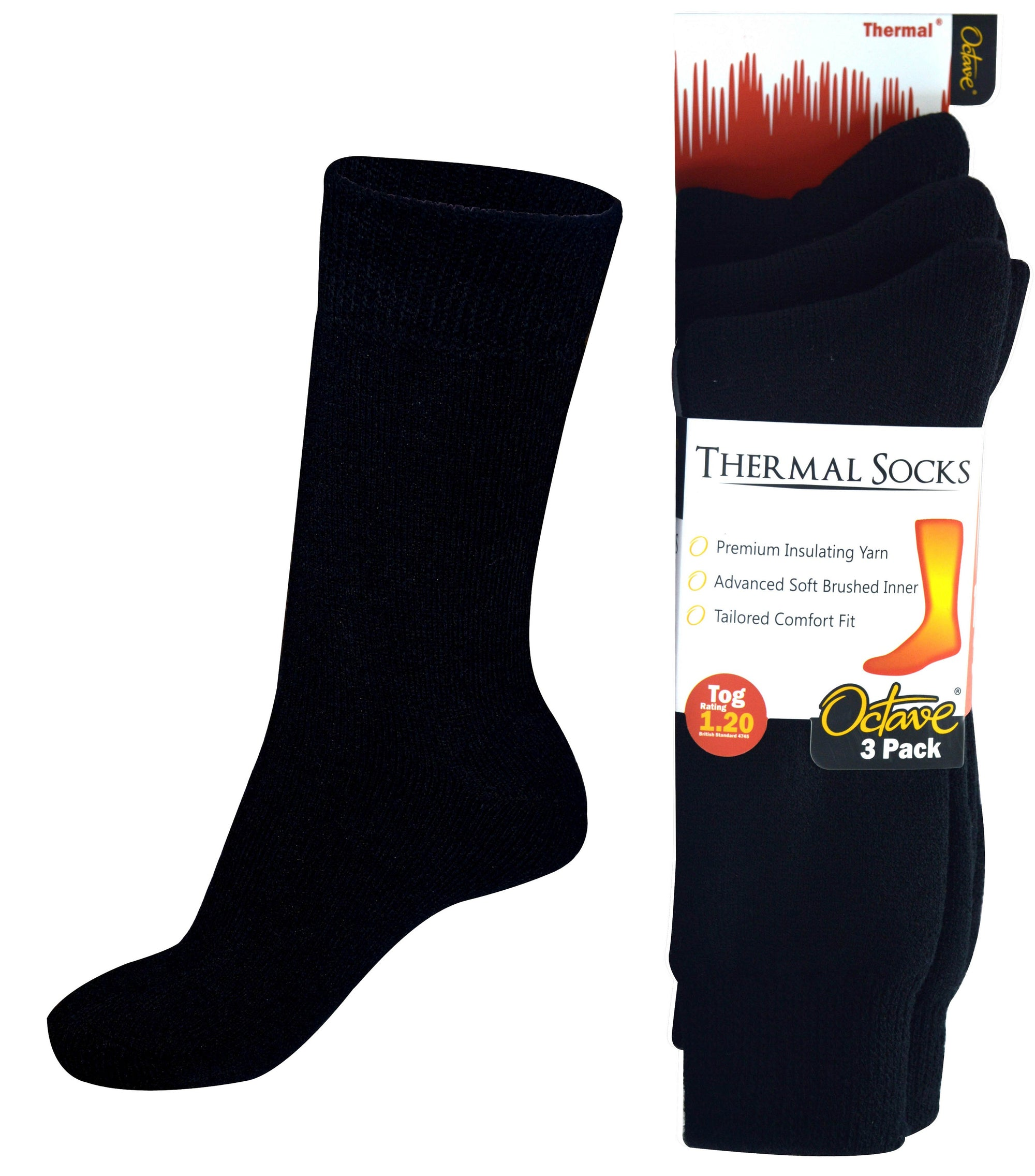 Octave® Mens Thermal Socks 1.2 Tog 3 Pack - Black