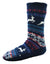 OCTAVE Mens Chunky Reindeer Fairisle Fleece Lined Slipper Socks With Grip Soles