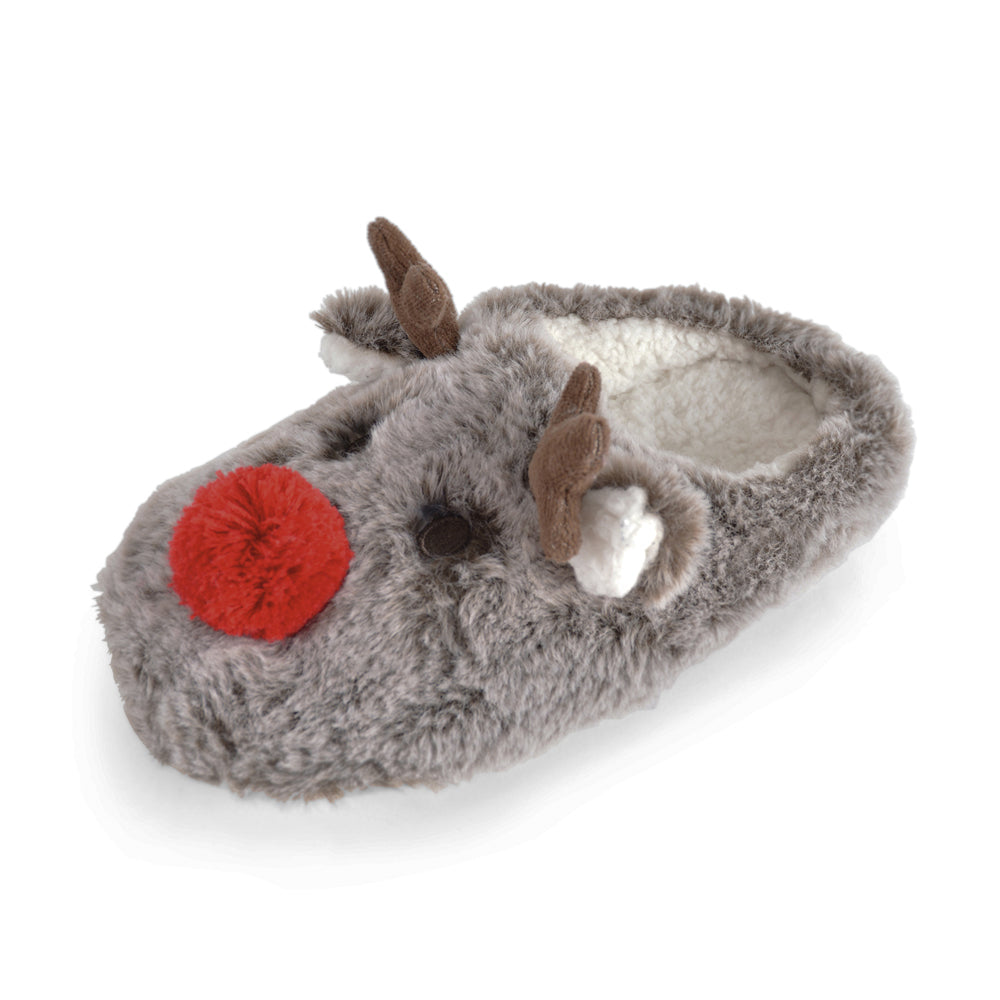 OCTAVE Ladies Fluffy Novelty Plush Reindeer Mule Slippers - Soft Fleece Lining