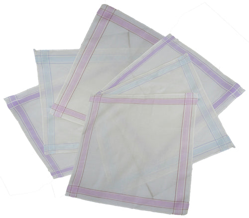 Passionelle 6 Pack Ladies White 100% Cotton Handkerchiefs With Stripes