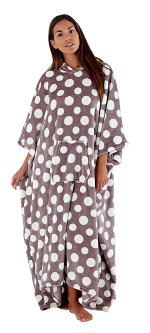 Octave Ladies Long Hooded Luxury Coral Fleece Polka Dot Poncho/Kaftan