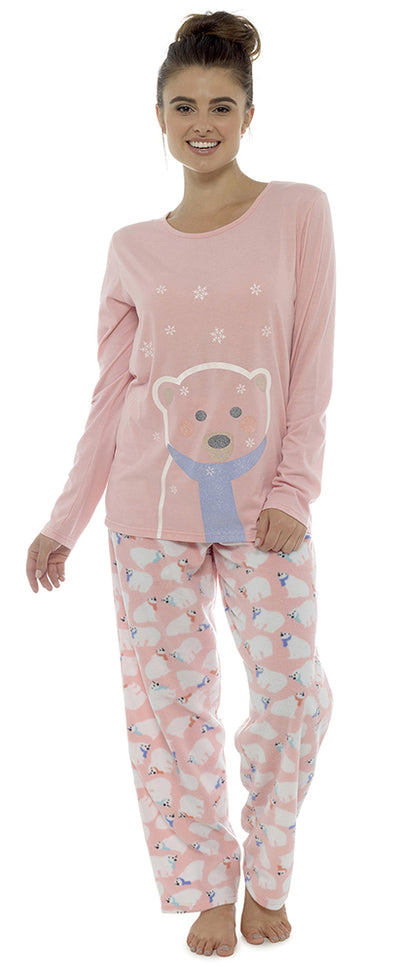 OCTAVE Ladies Polar Bear Glitter Print Jersey Top With Fleece Pants Pyjama Set