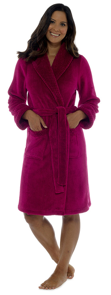 OCTAVE® Ladies Warm Waffle Shawl Collar Shimmer Fleece Bath Robe Dressing Gown