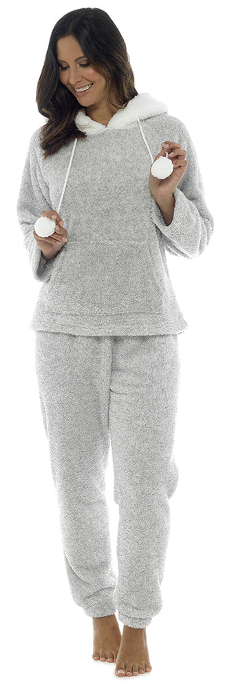 OCTAVE Ladies Luxury Cuddle Fleece Twosie Pyjama Set With Sherpa Lined Hood