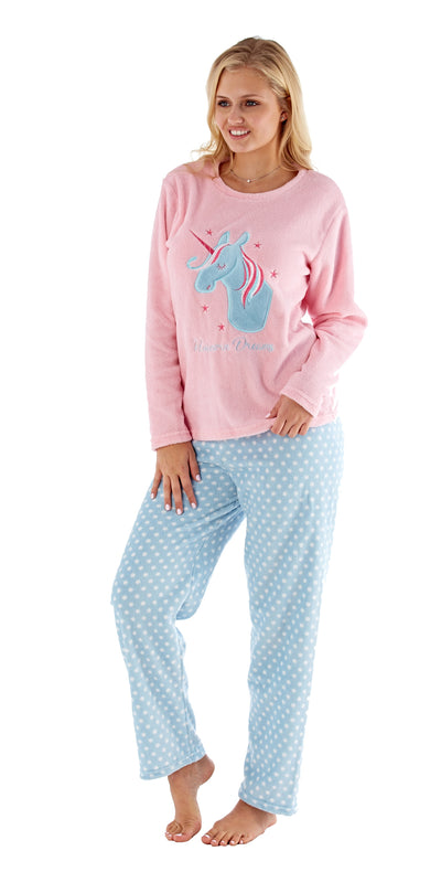 OCTAVE Ladies Fun Unicorn Print Super Soft Coral Fleece Loungewear Pyjama Set