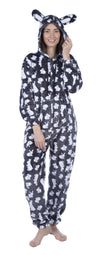 OCTAVE Ladies Rabbit Bunny Ears Hooded Onesie Loungewear All In One Jumpsuit