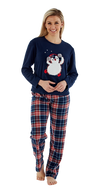 Octave Ladies Festive Fleece Penguin Reindeer Printed Top Check Pants Pyjama Set