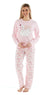 Octave Ladies Swan with Crown Printed Fleece Long Sleeve Top & Pants Pyjama Set
