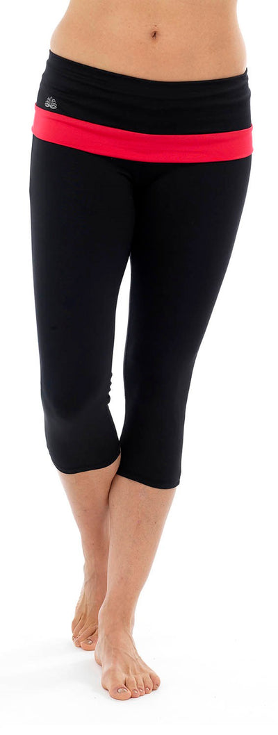 Ladies Fitness Cropped 3/4 Capri Yoga Pants Red