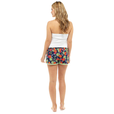 Octave Ladies Printed Summer Beach Pool Swim Shorts - Pineapple Print