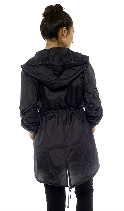 Rain Mac Showerproof Hooded Full Zip Jacket Black Back