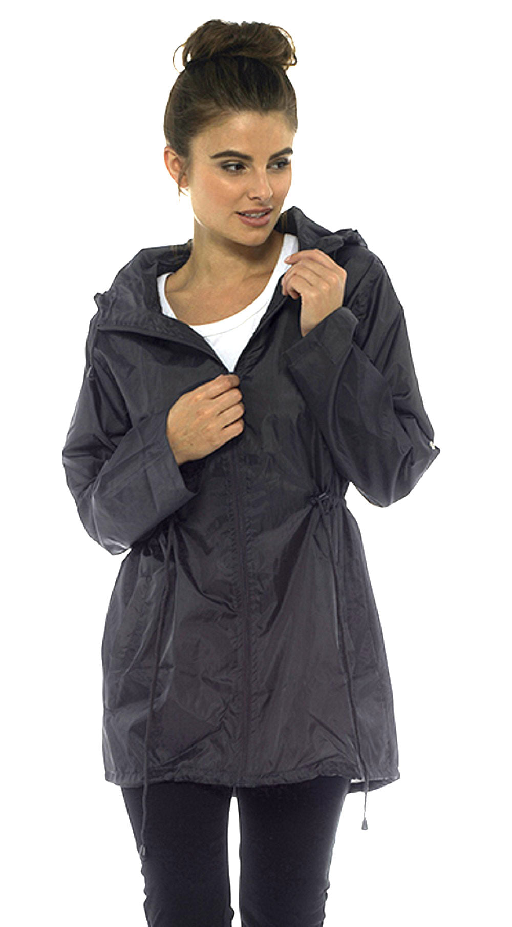 Rain Mac Showerproof Hooded Full Zip Jacket Black