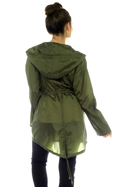 Rain Mac Showerproof Hooded Full Zip Jacket Khaki Back