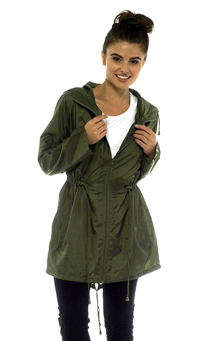 Rain Mac Showerproof Hooded Full Zip Jacket Khaki