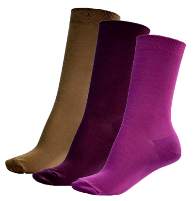 OCTAVE Womens Extra Fine Luxuriously Soft Silk Touch Bamboo Socks - Pack of 3