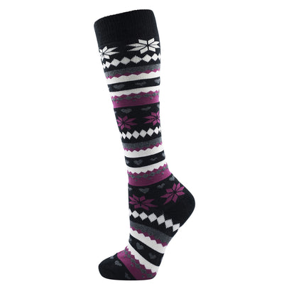 OCTAVE Ladies Fairisle Design Cushioned Cotton Rich Knee High Wellie Socks