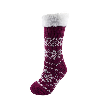 OCTAVE Ladies Chunky Knitted Fleece Lined Fairisle Slipper Socks With Grip Soles