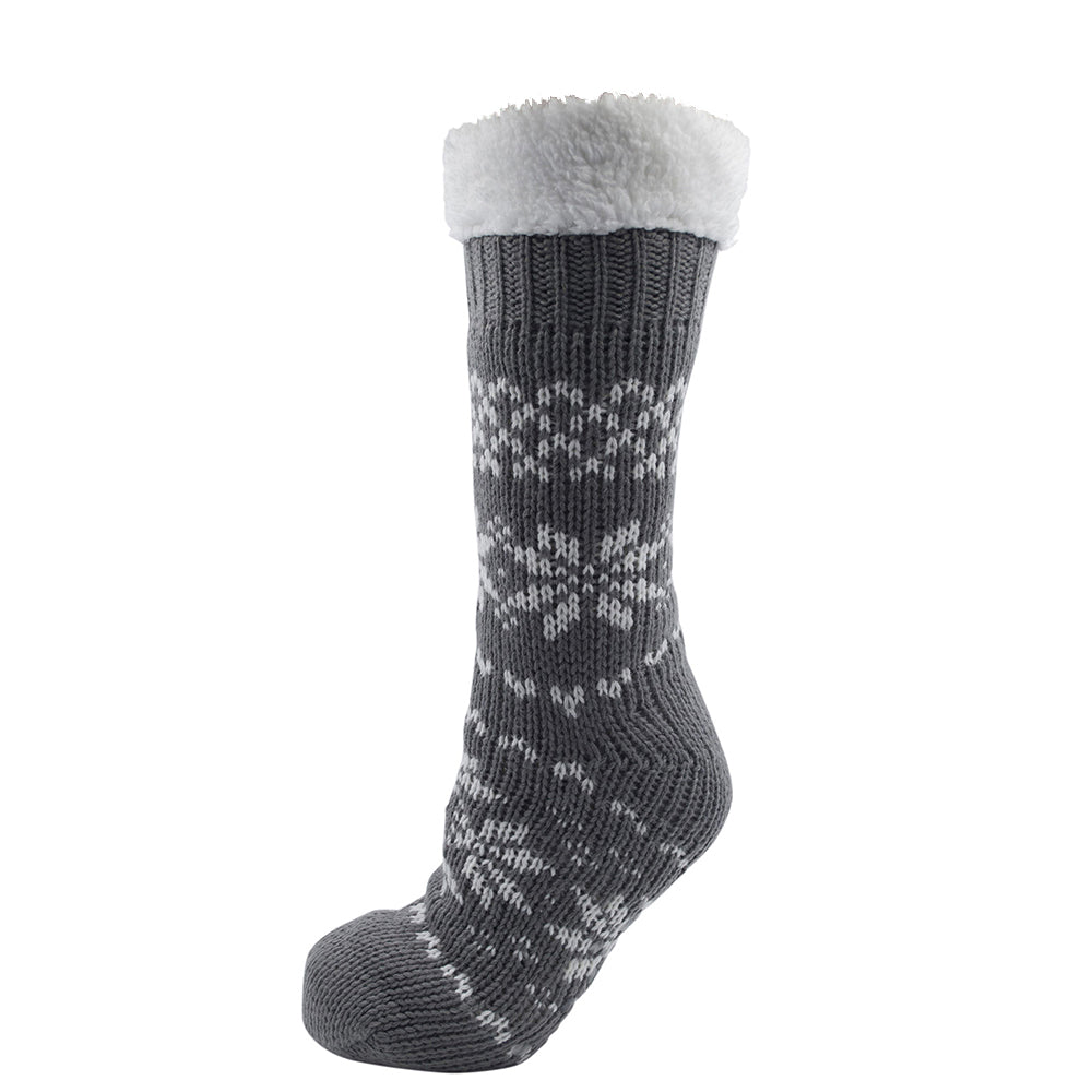 0e18a12966bd7 OCTAVE Ladies Chunky Knitted Fleece Lined Fairisle Slipper Socks With Grip  Soles