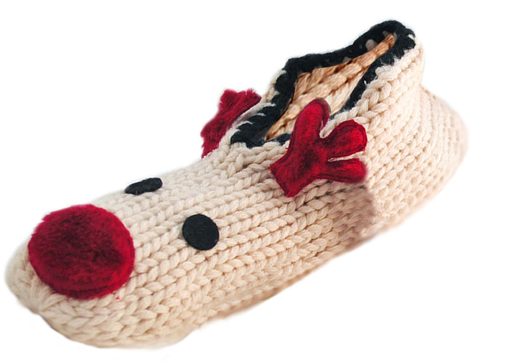 OCTAVE Ladies Chunky Knit Novelty Reindeer Slipper Socks With Grip Soles