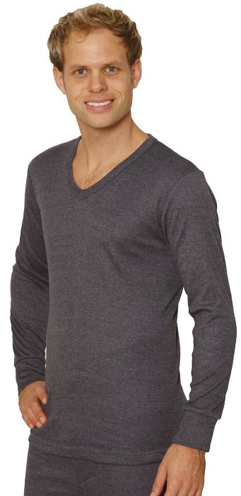 Octave® Mens Thermal Underwear Long-Sleeve V-Neck Vest