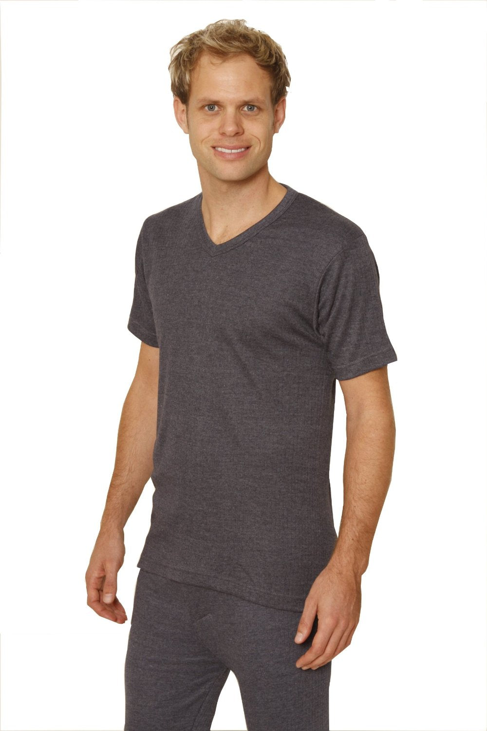 Octave® Mens Thermal Underwear Short-Sleeve V-Neck Top