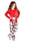 Octave Girls Festive Fleece Penguin Reindeer Printed Top Check Pants Pyjama Set