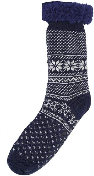 OCTAVE Mens Fleece Lined Fairisle Cosy Thermal Slipper Socks With Grip Soles