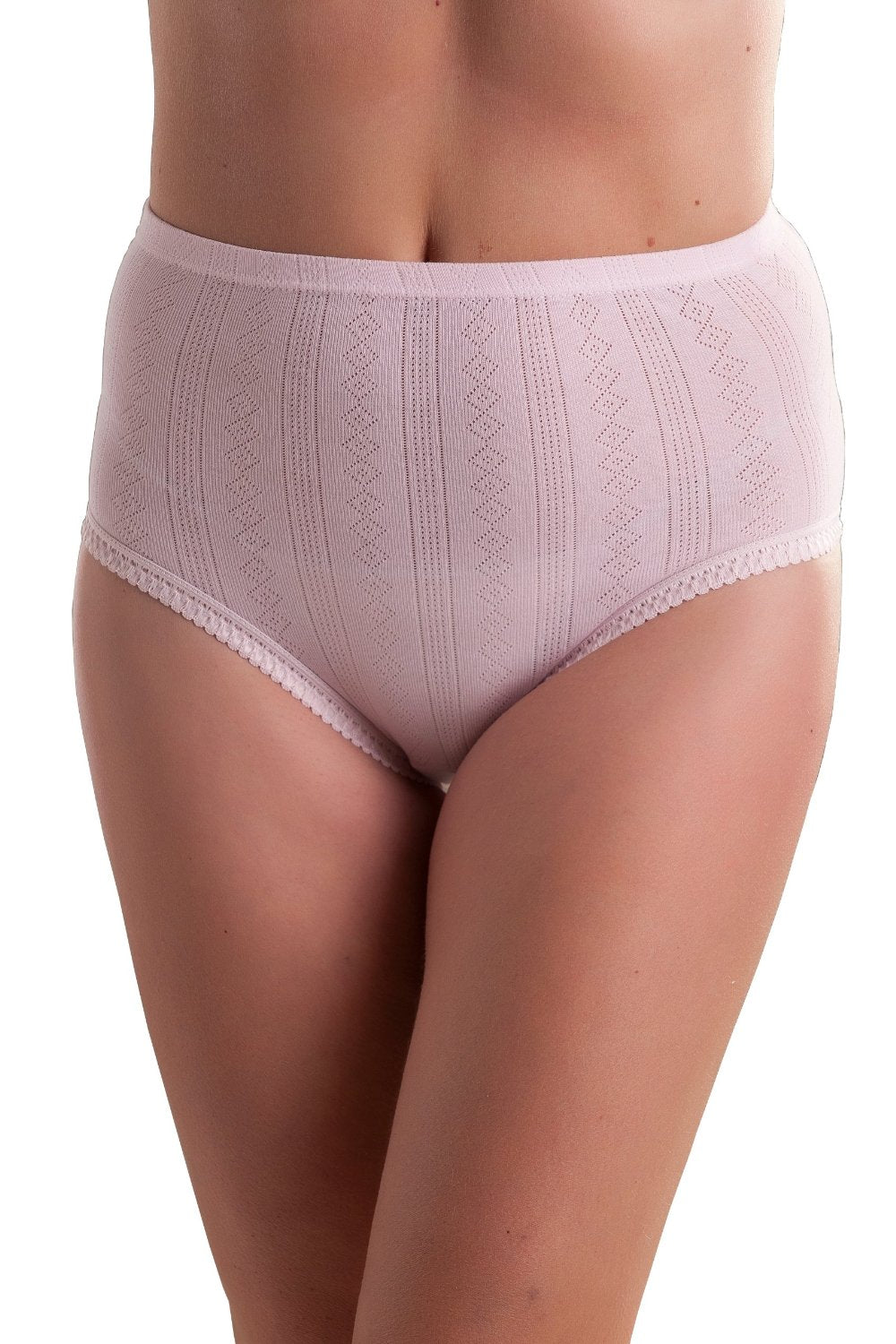3 PACK : Passionelle® Womens Jacquard Designed Pastel Colour Comfortable Covered Elastic Soft Cotton Briefs