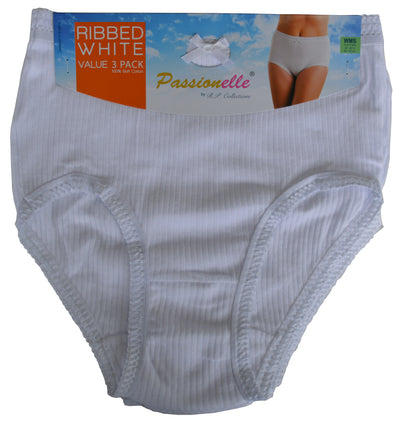Passionelle Womens ribbed white briefs