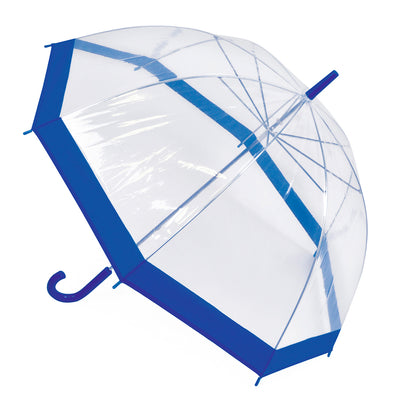 OCTAVE Ladies Lightweight Clear Transparent Dome Umbrella With Coloured Trim