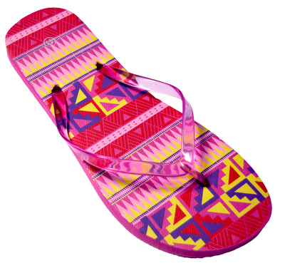 OCTAVE Ladies Summer Beach Wear Flip Flops Wave Design - Pink