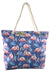OCTAVE Ladies Summer Beach Tote Handbag - Flamingo Design - Blue