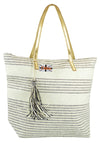 OCTAVE Ladies Summer Beach Tote Handbag - Striped Design With Tassel - Cream