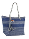 OCTAVE Ladies Summer Beach Tote Handbag - Striped Design With Tassel - Navy