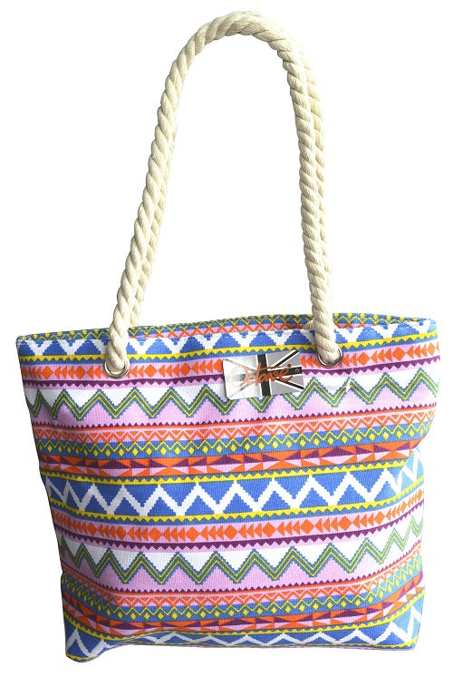 Beach tote handbag chevron design