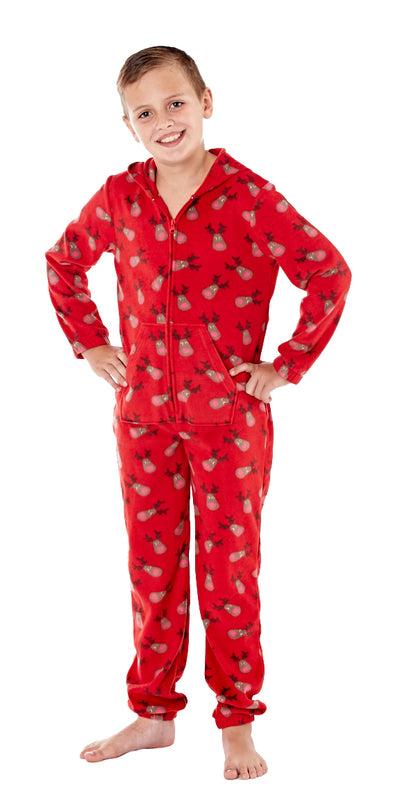 Christmas Warm Hooded Onesie Red