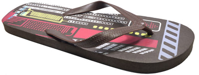 OCTAVE Mens Techno Design Flip Flops - Brown