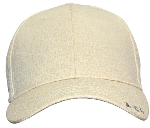 OCTAVE Unisex Baseball Cap Hat - Tuck Strap Embossed Design 3 Metal Eyelets - Cream
