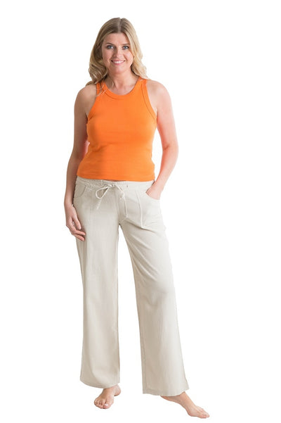 OCTAVE Ladies Linen Trousers - Stone (Front)