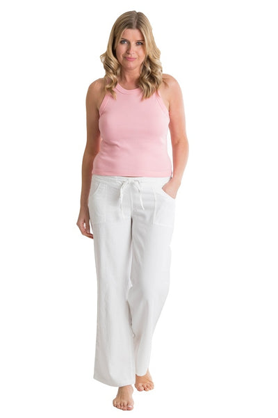 OCTAVE Ladies Linen Trousers - White (Front)