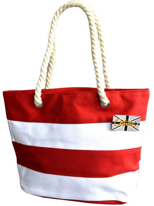 OCTAVE Summer Beach Tote Handbag Striped Design - Red & White
